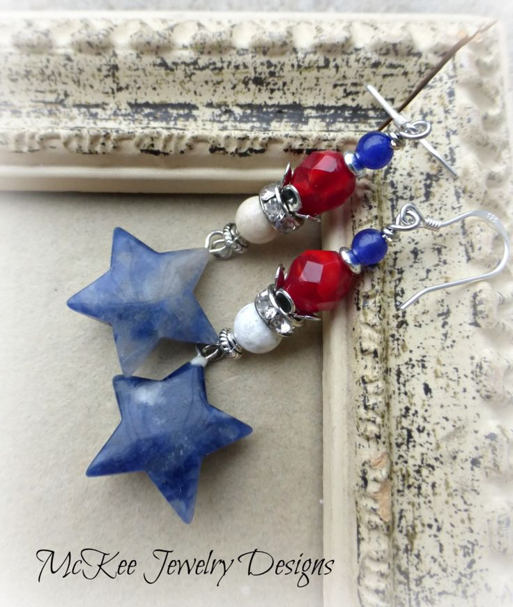 The fourth. Czech glass, blue sodalite stone, white jasper, sterling silver earrings.