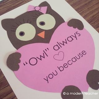 "Valentine's Owl Craft and Writing Prompt   or ""Whoooo loves you?""  ""I do!"" (inside)-card for parents"