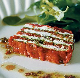 This is one of my favorite uses for slow-roasted tomatoes. The terrine isn't hard to assemble (use a disposable foil mini loaf pan), but it can be tricky to slice. I use an electric slicer. If you don't have one, try using dental floss to cut nice, even slices while the terrine is still very cold. You can also serve the terrine with bread or crackers, almost like a spread.