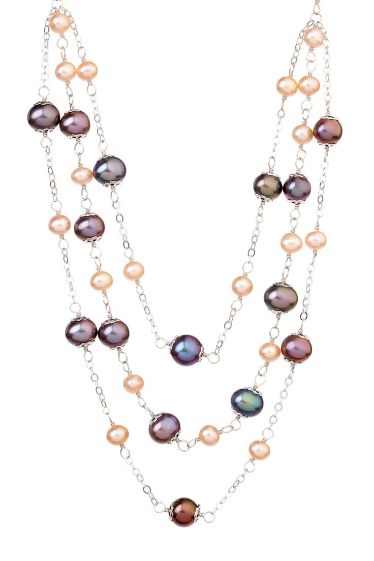 Black & Pink Freshwater Pearl Chain Necklace