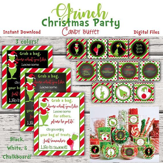 Grinch Christmas Party Candy Buffet Sign and Candy Jar labels.