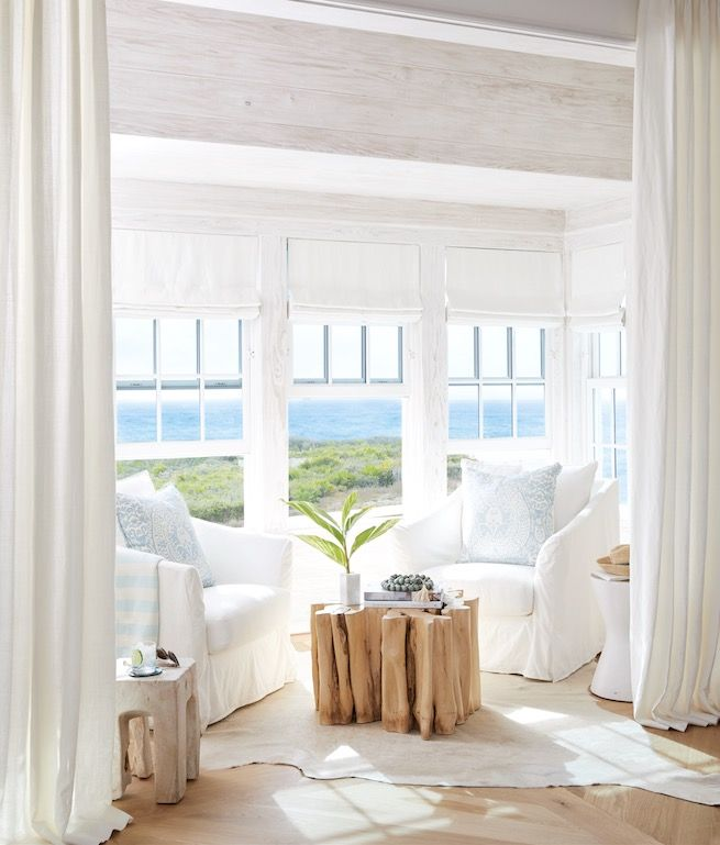 Wow Coastal Home Decor Sitting Room White Slipcovered Chairs Driftwood Beach House Living Room Coastal Decorating Living Room Beach House Interior