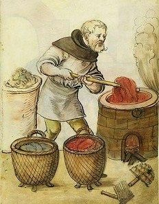 tintore di tessuti - Textile Dyer - It's About Time: Illuminated Manuscripts - 1400s Craftsmen & Shopkeepers in Nuremberg, Germany