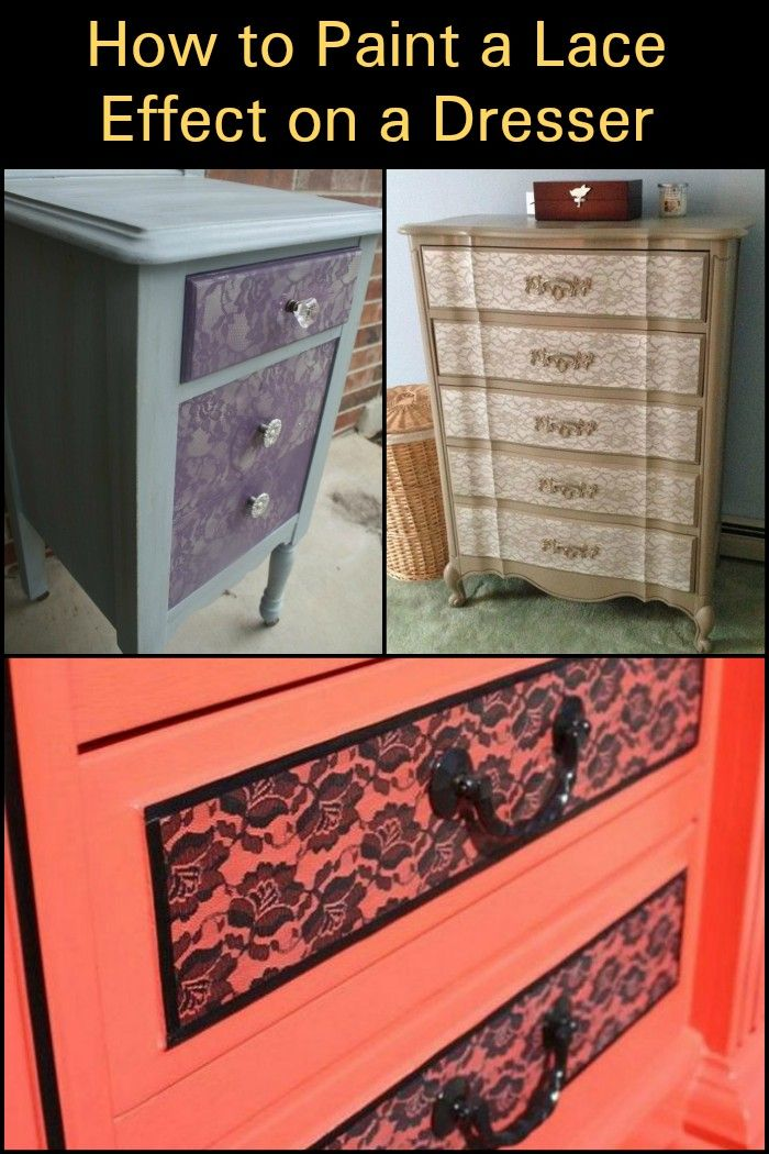 How To Paint A Lace Effect On Dresser Diy Furniture