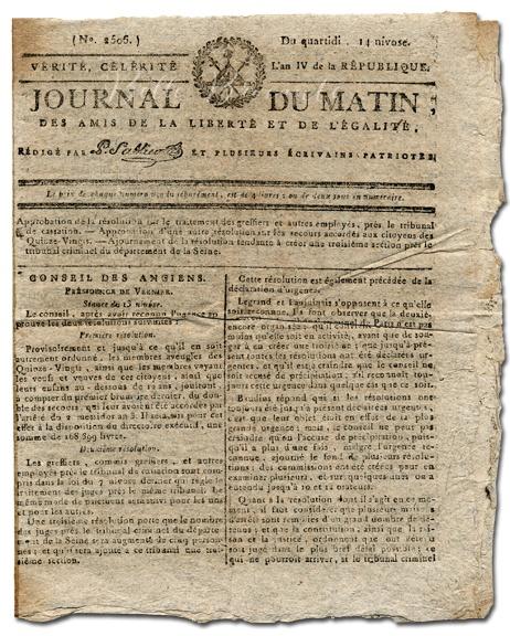 Journal du Matin. 1796. France.