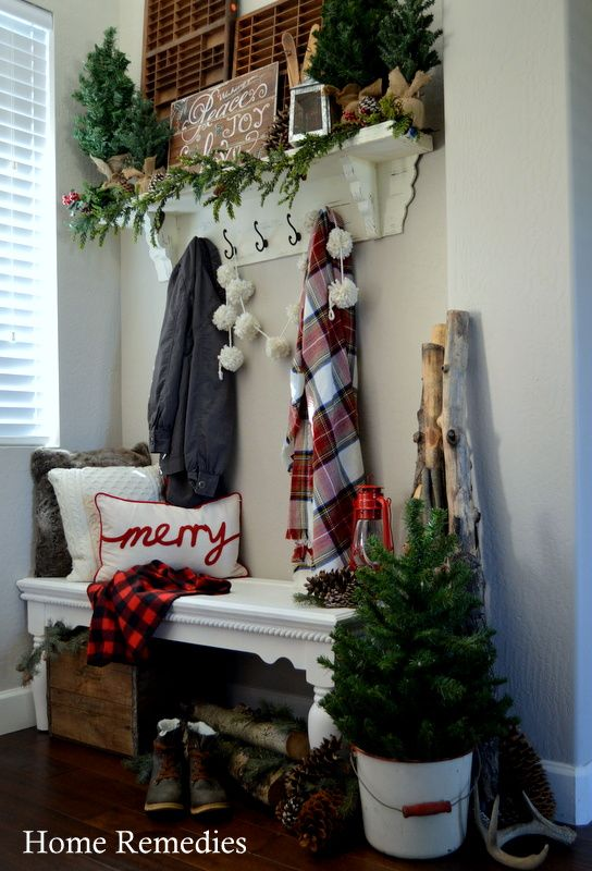 A Cozy Farmhouse Entryway - Rustic, warm, and welcoming farmhouse style entryway from HomeRemediesRx.com #bunkerplans