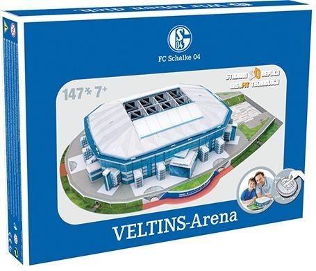 Bouw het stadion van de Duitse voetbalclub Schalke 04 na in 3D met deze uitdagende puzzel van 147 stukjes. De puzzel is geschikt voor kinderen vanaf 7 jaar en is een exacte replica van de Veltins Arena.   Afmeting: 47x310x227 mm - Puzzel Schalke 04: Veltins Arena 147 stukjes