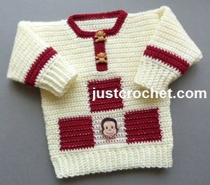 Free baby crochet pattern for sweater http://www.justcrochet.com/sweater-usa.html #justcrochet