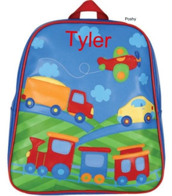 Poshy Kids - Personalized Kids Backpacks GoGo Transportation, $23.99 (http://www.poshykids.com/personalized-kids-backpacks-gogo-in-transportation/)