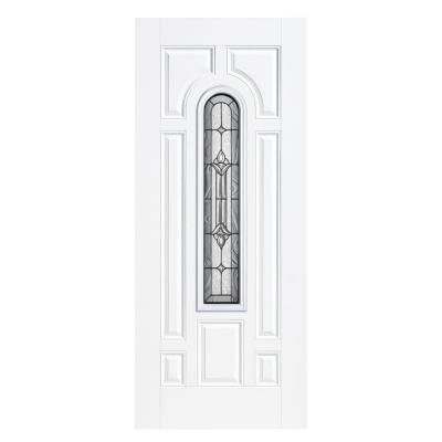 Masonite Providence Center Arch Primed Smooth Fiberglass Entry Door with No Brickmold-14636 - The Home Depot