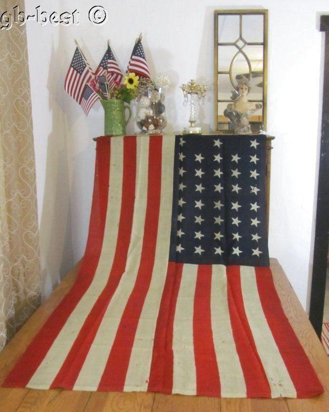 "Patriotic 38 star Antique American USA Flag    c 1876 72 x 38"" RARE Americana"