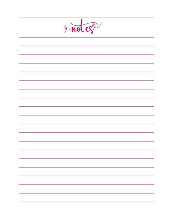 Caribbean Colors Printable Lined Notes Insert Note Pad