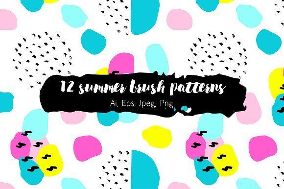 12 summer brush patterns by Alla_Ri_Shop on @creativemarket