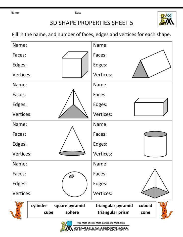 Printable Worksheets 2 d shapes worksheets : The 25+ best 3d shape properties ideas on Pinterest | Kindergarten ...