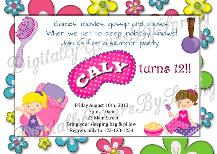 Customize this Girls Slumber Party themed birthday invite for your needs! If you would like to customize using different fonts or colors or add your personal pictures I can customize to your needs. Please visit my online store for more information. www.etsy.com/... or like me on Facebook! www.facebook.com/...