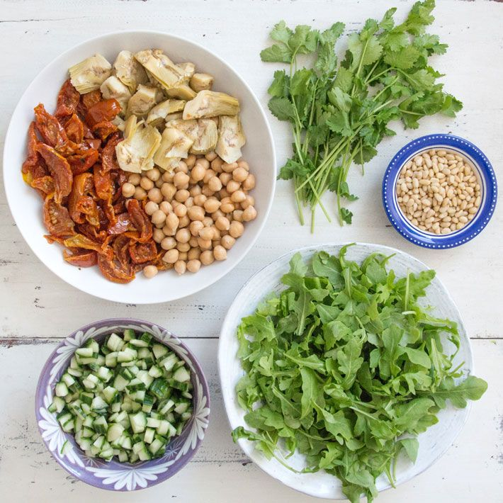 Chickpea, Sun-Dried Tomato and Artichoke Salad