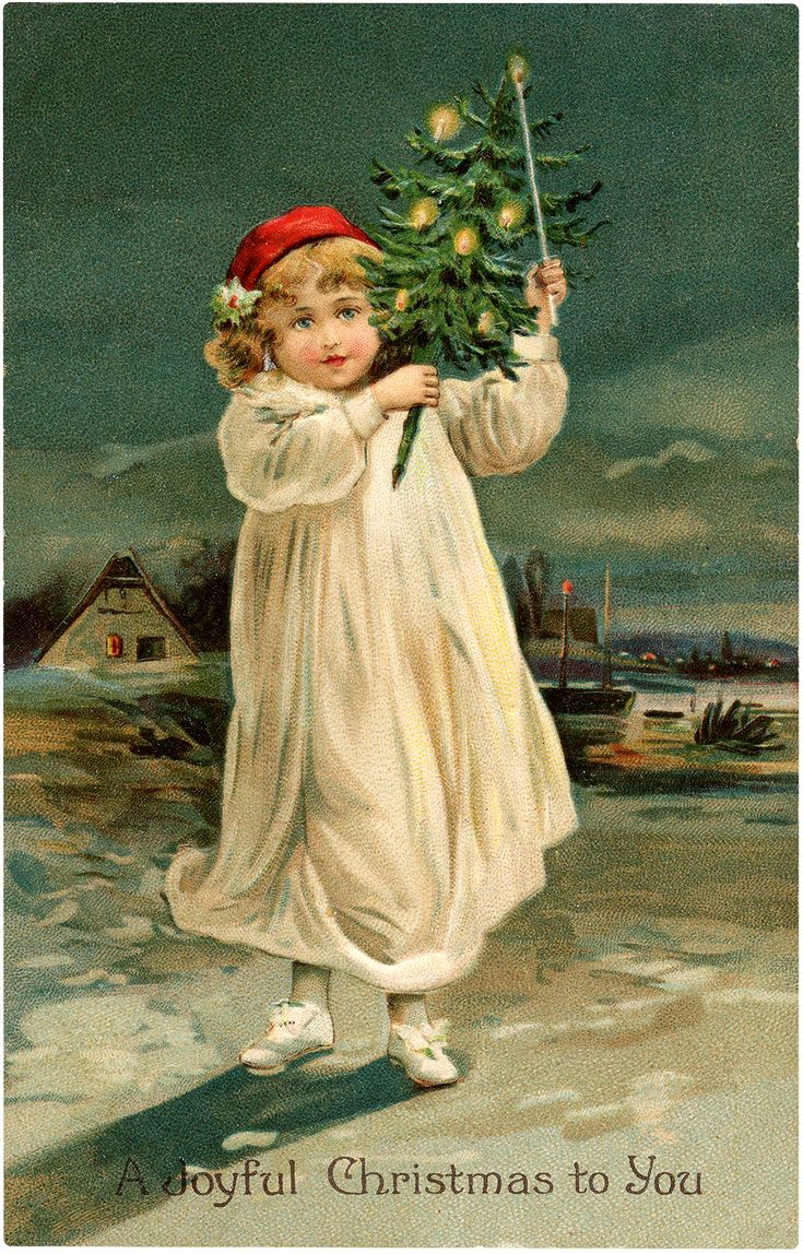 """Today I'm sharing this Nostalgic Child Carrying Christmas Tree Graphic! In this lovely painting of a child carrying a small lighted Christmas tree over her shoulder through the city, reads """"A Joyful Christmas to You."""" The curly haired child wears a while nightgown and red night cap and whit stockings and shoes with bows. The...Read More »"""