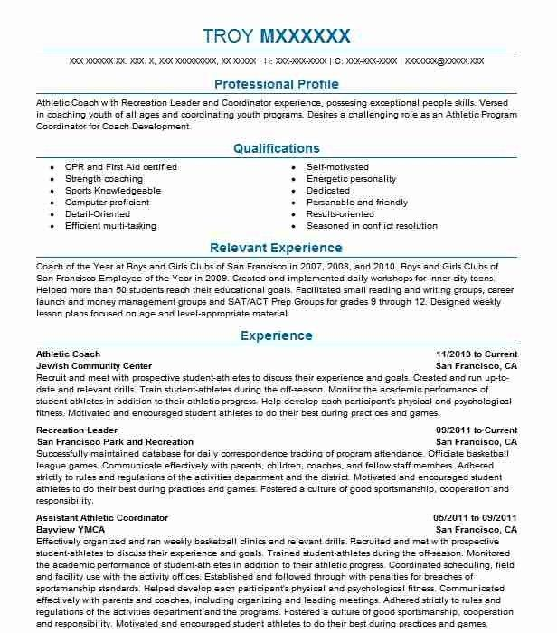 Athletic Coach Resume Sample Resumes Misc Livecareer Resume Template Resume Resume Design Template