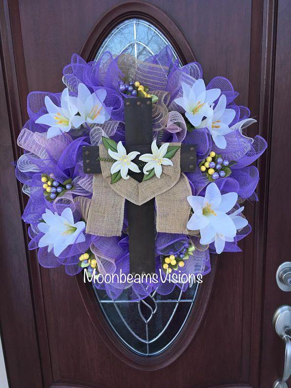 Easter Religious Wreath Easter Wreath Easter Religious Decor Mesh