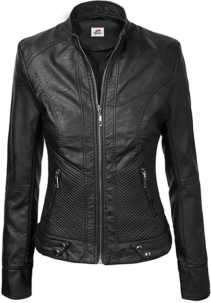 ST Quilted Women's Biker Leather Jacket in Black