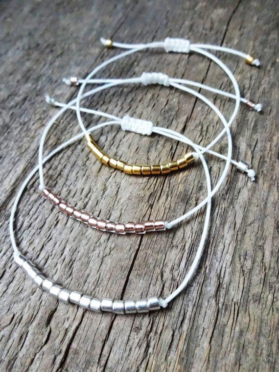 Pulsera de la cuerda | cuentas miyuki | granos de cristal | Joyas de Bohemia | hippie | nylon | Oro | Oro | dinero | Plata | cobre | cobre | Blanco