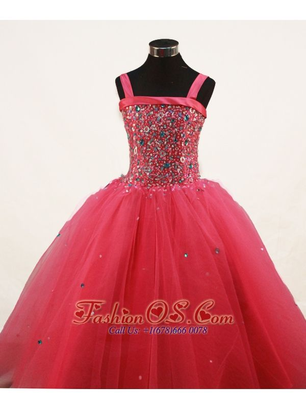 Coral Red Little Girl Pageant Dresses With Beading and Straps- $149.59  www.fashionos.com   pageant dresses for little girls in Austin TX