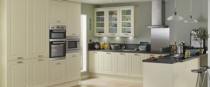 Howdens : Burford Tongue & Groove: could use plain tongue and groove end panels (Tower Decor End) for our sliding doors and then use cheaper Greenwich range for completely plain matt door fronts etc, with handles.  Colours will match - cream too yellow but ivory fine and our cream tiles will stand out more.  For narrow shelves behind sliding doors she recommended slicing up their end panels as well.  Trade price list we have is 50% off but builders often get more.