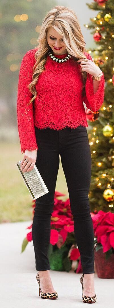 #winter #fashion /  Red Lace Top / Black Skinny Jeans / Leopard Pumps