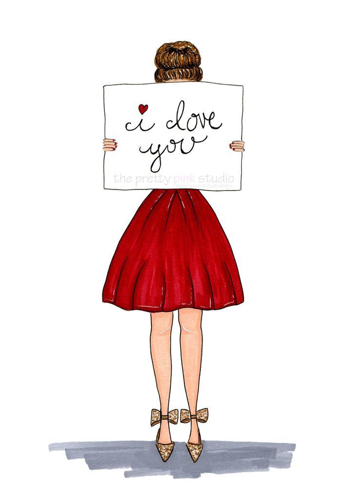 I love you fashion print, Little red dress fashion illustration, Valentines Day art print, Wall art for girls room, Girl art,Vanity wall art by theprettypinkstudio on Etsy