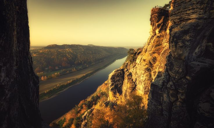 Elbe River - View from the 'Bastei' down to Elbe River in Saxon Switzerland, Germany.