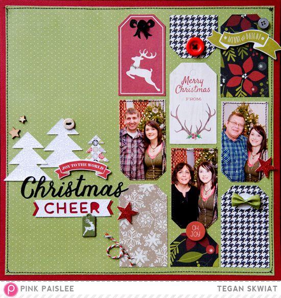 #papercraft #scrapbook #layout. Christmas Cheer layout @pinkpaislee @lovestoscrap123 #pinkpaislee #ppmerryandbright #layout