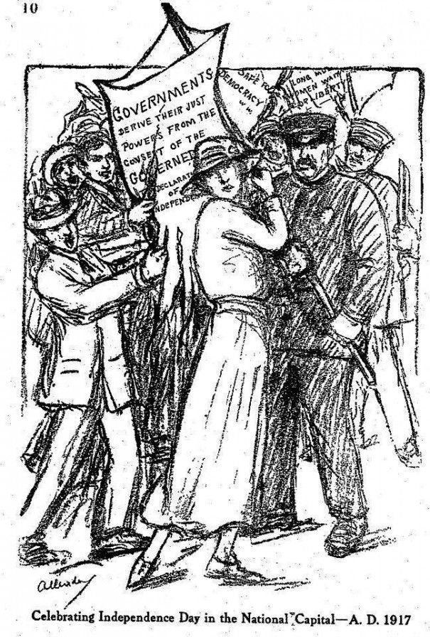 """Cartoonist Nina Allender's view of the July 4th demonstration as drawn for the National Woman's Party's official publication, """"The Suffragist."""""""