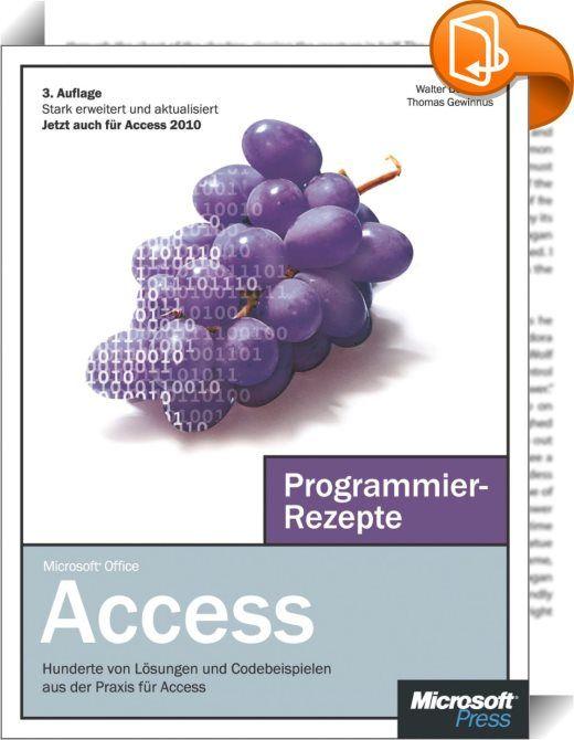 Microsoft Access Programmierrezepte    :  Dieses Buch richtet sich sowohl an Einsteiger als auch an fortgeschrittene Access-Programmierer. Es zeigt dem Einsteiger anhand zahlreicher Rezepte, was es  bei der Entwicklungsumgebung und den Sprachelementen von Visual Basic zu beachten gilt oder wie Sie sich mit SQL vertraut machen. Profis bietet das Buch Hilfe bei Herausforderungen wie dem direkten Zugriff auf die Windows-API oder der Arbeit mit seriellen Schnittstellen. Zudem werden u.a. d...