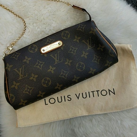 Louis Vuitton Eva Monogram Clutch Louis Vuitton Eva Clutch purse in excellent condition. Does NOT come with leather crossbody strap. Bag and dust bag only. - Dust bag included - Made in the USA Sorry, no trades Louis Vuitton Bags