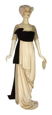 Lucy, Lady Duff Gordon's strikingly different, boldly designed gown.  Year not specified, but it's later period.