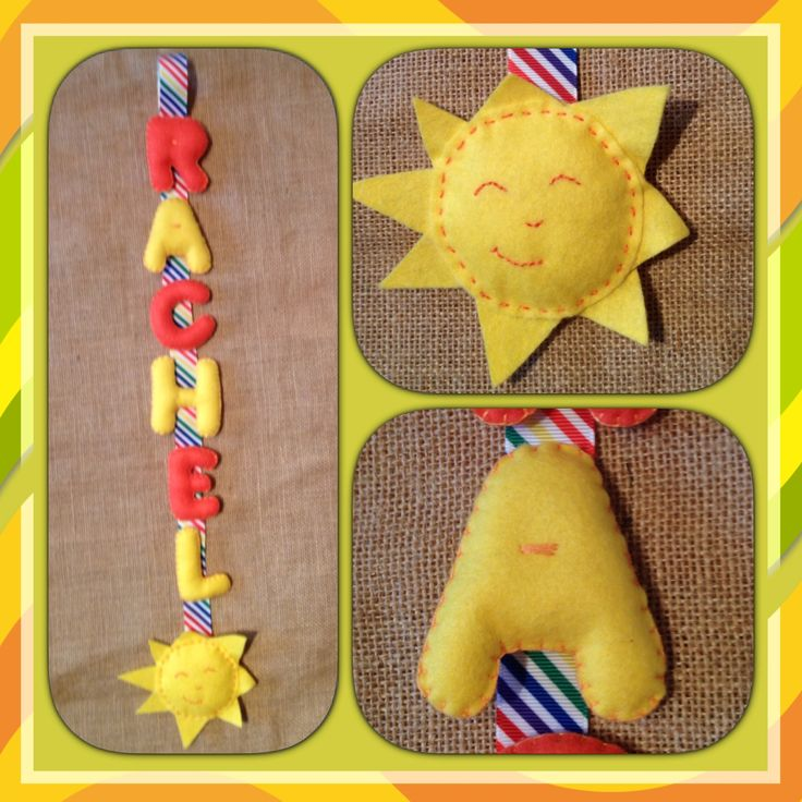 Hanging felt name with sunshine.