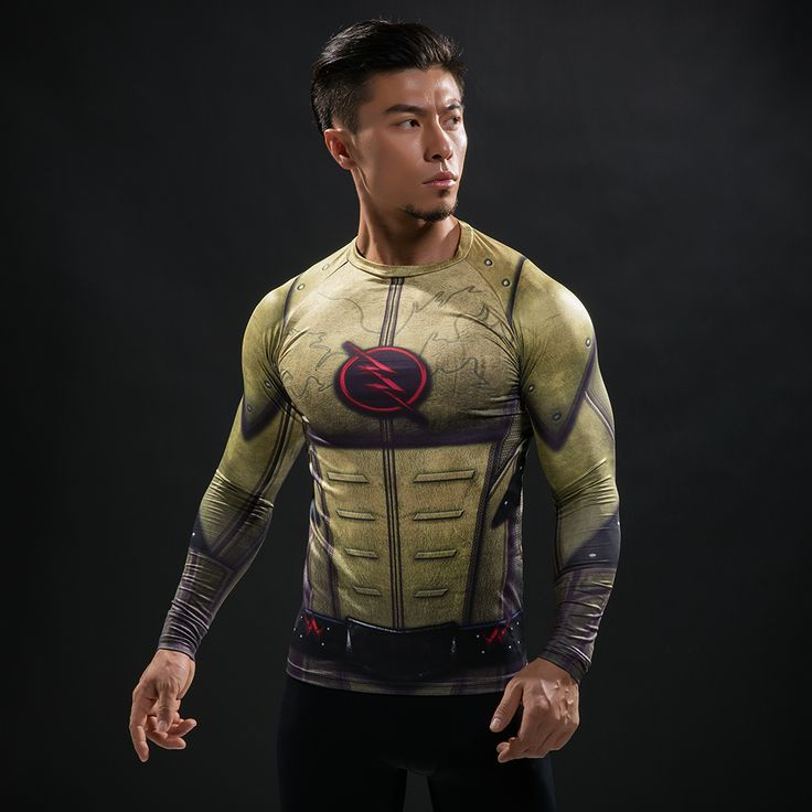 nice Rashguard Long Sleeve Rashguard Flash Reverse Comics  -  This t-shirt looks like natural superhero gear! Fits perfectlyrash guard tee shirtis ideal for sport and daily usage. This shirt containslycra, which allows material stretch to the several sizes and comes back to normal size. Perfectly breathtissue, the color doesn't fade over time.