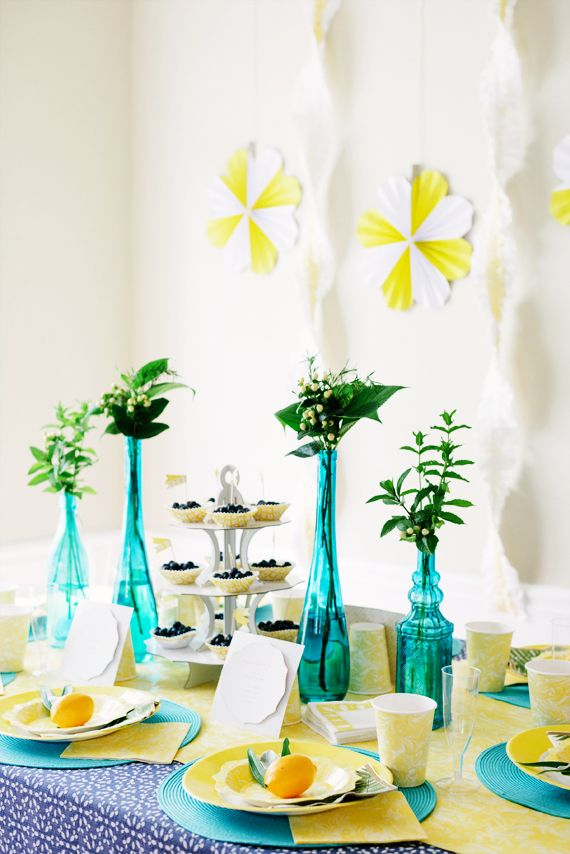 Summer brunch party turquoise and lemon details with