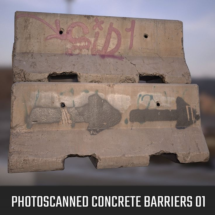 Photoscanned Concrete Barriers 01, Franco Pizzani on ArtStation at…