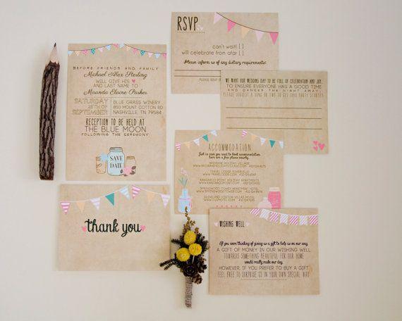 Wedding Invitation Suite DEPOSIT - Printed, Custom, DIY - Rustic, KRAFT Paper, Buntings, Jars, Vintage, Barn Wedding (Wedding Design #13)