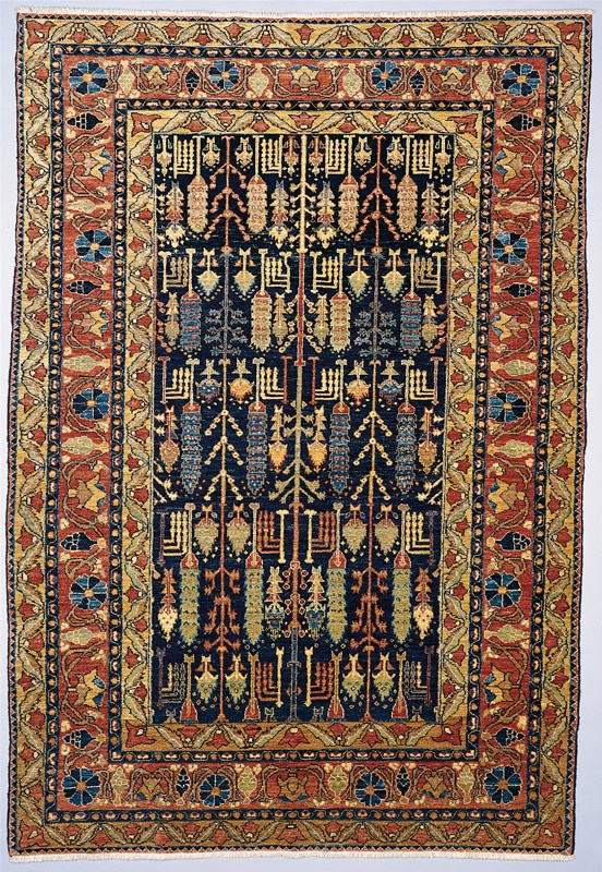 Chobi Collection Peshawar Stone Wash Denim Southwest Floral Wool Area Rug    Couristan Rugs | Rugs