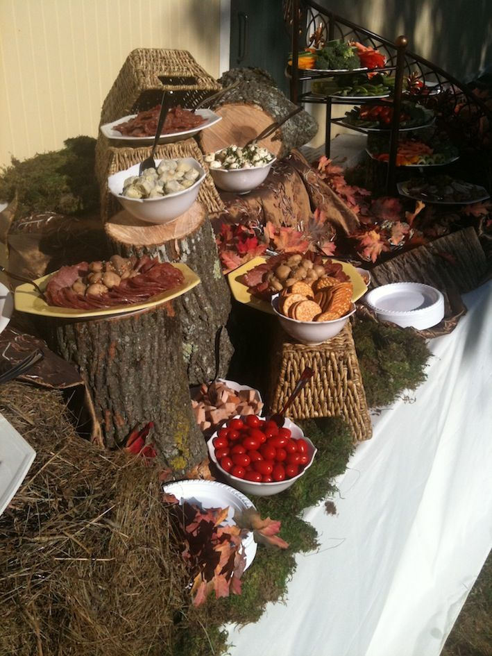 Rustic Display by Blue Elephant Events and Catering  (could use logs, for the stability, as risers on the table, but cover them with tablecloths)