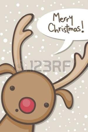 Tarjeta de Navidad con renos dibujos animados photo