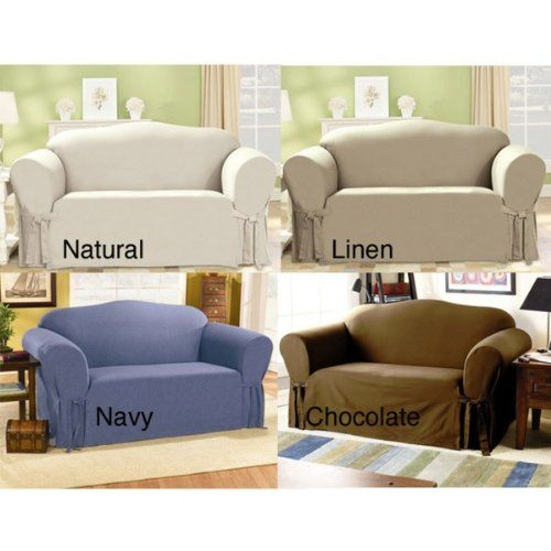 surefit duck supreme cotton loveseat slipcover natural