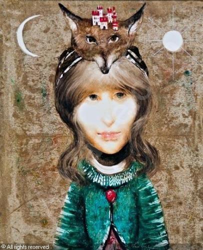 SZASZ Endre,Lány rókafejes fejdísszel,Nagyházi Gallery,Budapest