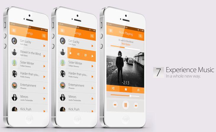 music ios7 concept
