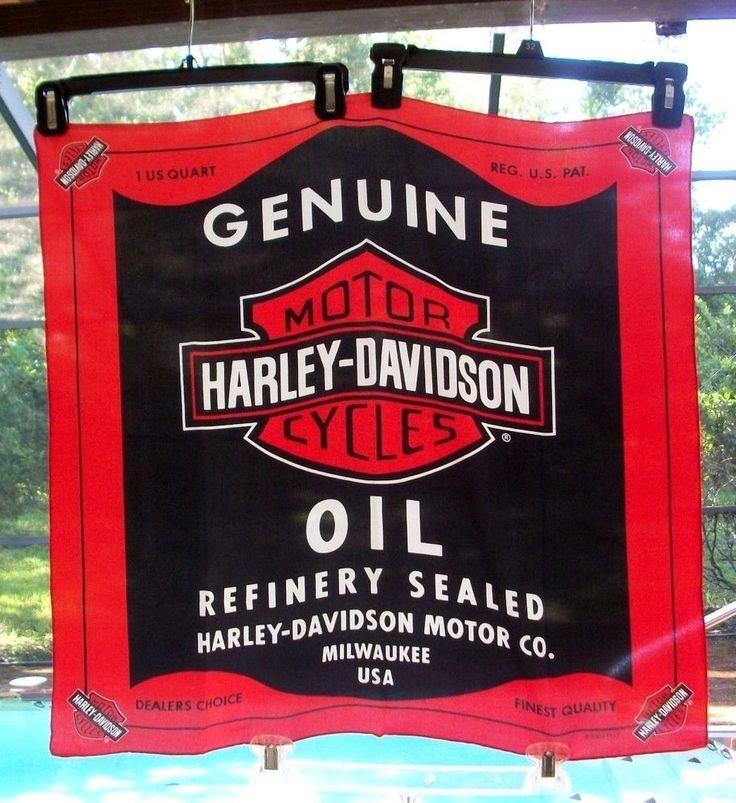 Harley Davidson Oil Can Silk Scarf 2003 Collectible Wear or Man Cave Display NM #HarleyDavidson