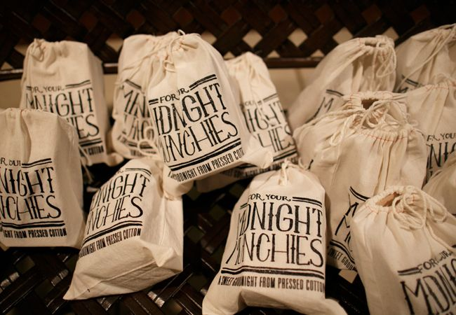 Send your guests away with a bag of treats for their Midnight Munchies at the end of the night! Fill each with goodies such as cake pops, cookies, & salty popcorn to relish any hunger they may work up on the dance floor.