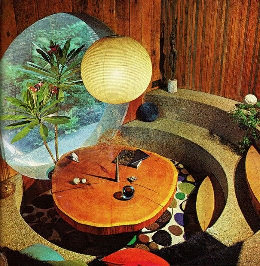 Always wanted a conversation pit. From the Practical Encylopedia of Good Decorating and Home Improvement, 1970.