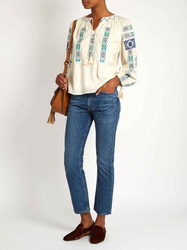 Folk-embroidered cotton blouse   Sea   MATCHESFASHION.COM